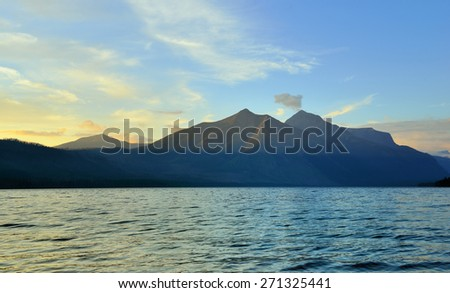 Mountains and McDonald lake in Glacier National Park, Montana in summer - stock photo