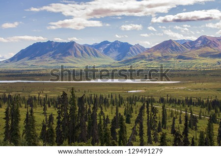 Mountains and Meadow Along Glenn Highway, Alaska - stock photo