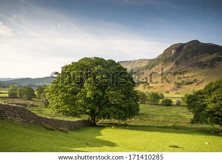 Mountains and meadows in Cumbria, Uk. - stock photo