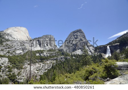 Mountains and Nevada Falls in Yosemite National Park