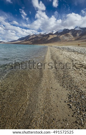Mountains and Pangong tso (Lake) Leh, Ladakh, Jammu and Kashmir, India