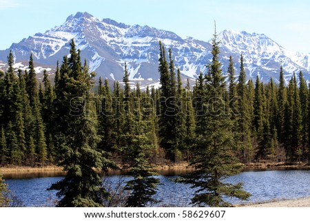 Mountains and Pond - stock photo
