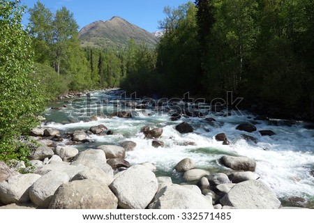 Mountains and rivers along the Hatcher Pass Scenic Drive in Alaska near Anchorage - stock photo
