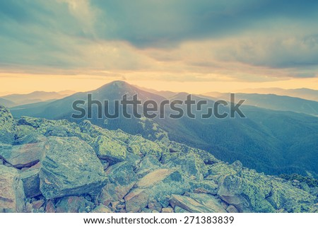 Mountains and rocks during sunset.Vintage filter instagram. - stock photo