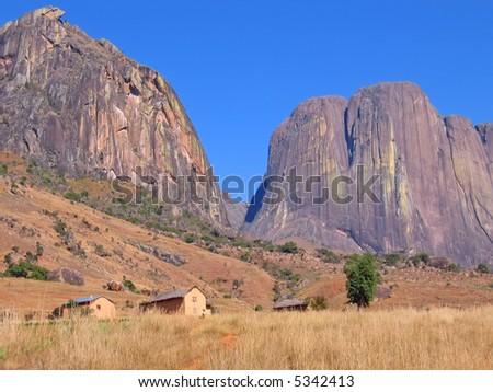 Mountains and savannah - Andringitra park - Madagascar. - stock photo
