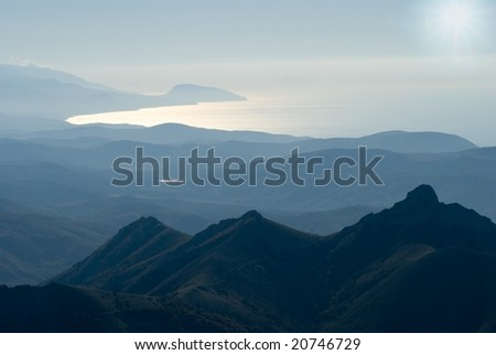 mountains and  sea