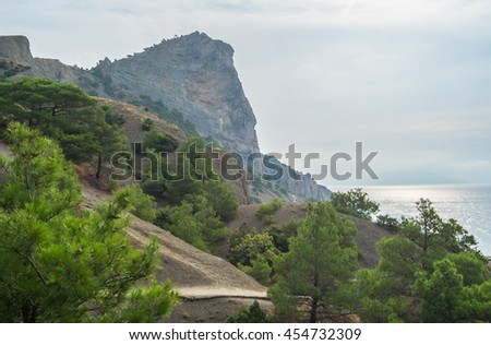 Mountains and sea landscape morning view from the top distance - stock photo