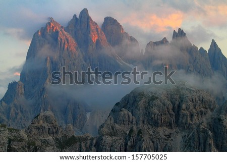 Mountains and summits at sunset, Dolomite Alps, Italy