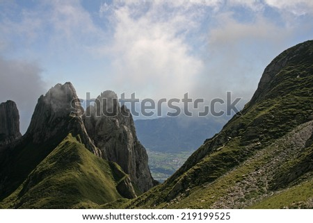 mountains and valley - stock photo
