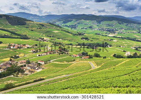 Mountains and vineyards of Beaujolais, France - stock photo