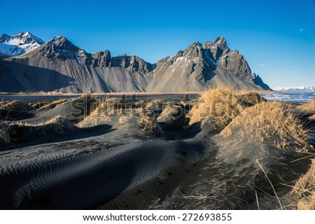 Mountains and volcanic lava sand dunes by the sea in Stokksness, Iceland. The brown bushes are lavender plants desiccated in the winter but will flourish and bloom when spring comes. - stock photo