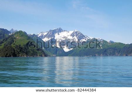 Mountains and Water in Kenai Fjord National Park - stock photo
