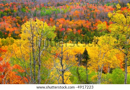 mountains at copper harbor michigan during autumn time - stock photo