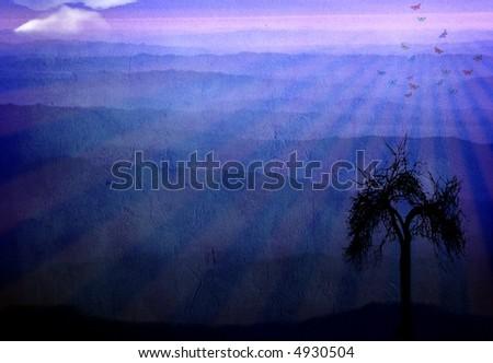 Mountains at dawn - stock photo