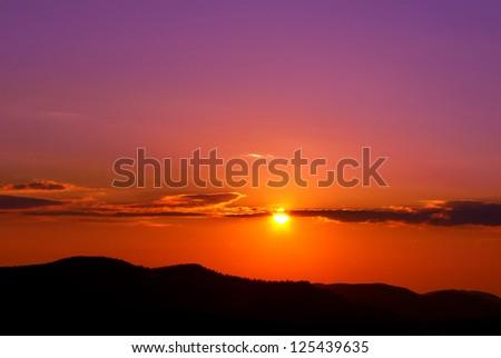 mountains at sunset - stock photo