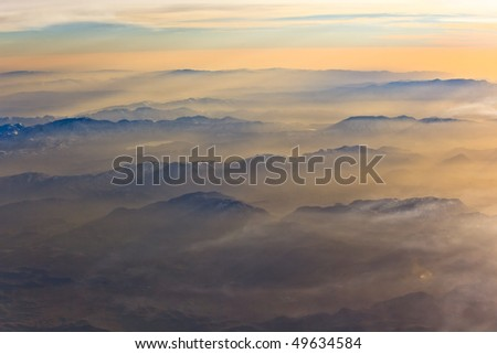 Mountains at sunset - stock photo