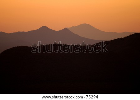 mountains at sunset in Arizona - stock photo