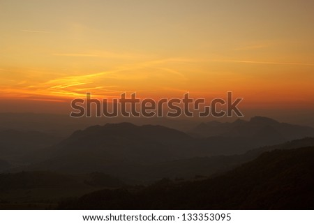Mountains at Sunset. Pieniny Mountains just after sunset, Poland. - stock photo