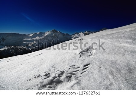 Mountains background, dramatic sky - stock photo