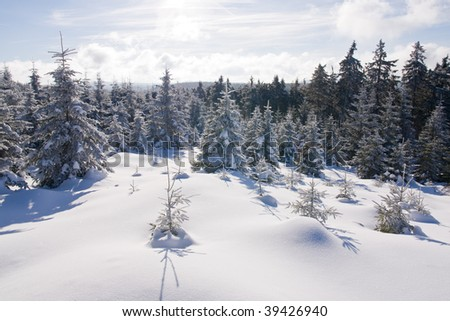 mountains covered with fresh powder snow - stock photo