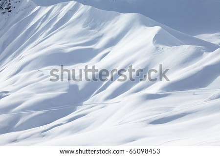 Mountains covered with fresh snow - stock photo
