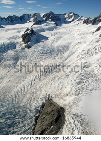 Mountains Covered With Snow - Southern Alps, New Zealand - stock photo