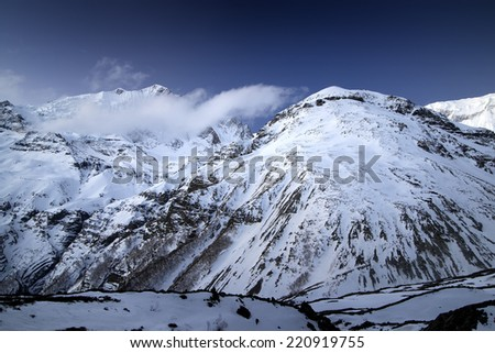 Mountains during moon light. Beautiful natural landscape - stock photo