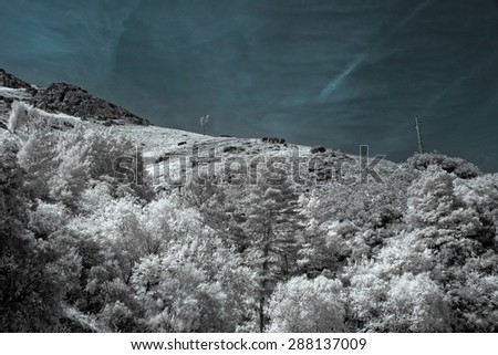 Mountains from the Peneda Geres National Park, north of Portugal, in late spring. Used infrared filter,