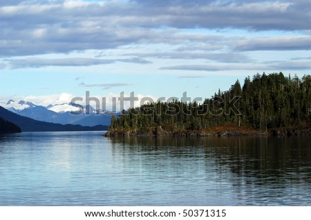 Mountains, glaciers, forests in Prince William Sound, Alaska - stock photo