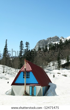 Mountains hut Fisht on Caucasus - stock photo
