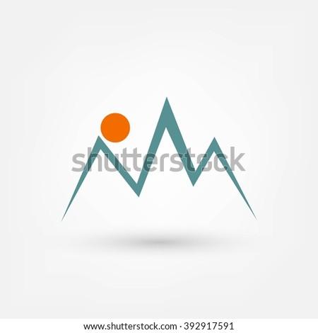 Mountains icon - stock photo