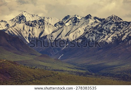 Mountains in Alaska - stock photo