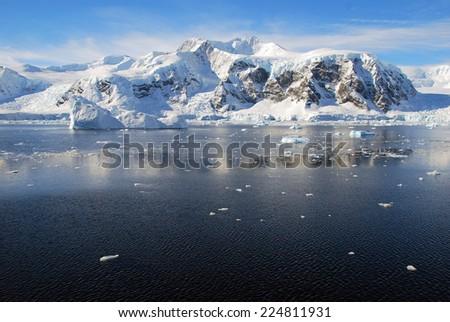 mountains in antarctica - stock photo