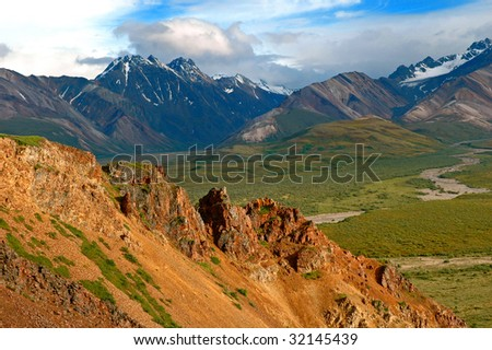 Mountains in Denali National Park Alaska - stock photo