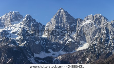 Mountains in Julian Alps with Spik in the middle, Slovenia