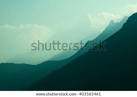 Mountains in Sagarmatha region, Himalaya - stock photo