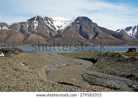 Mountains in Spitsbergen, Svalbard, Norway. - stock photo