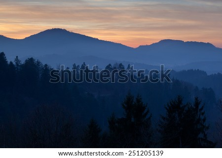 mountains in sunset, Loffenau, Germany