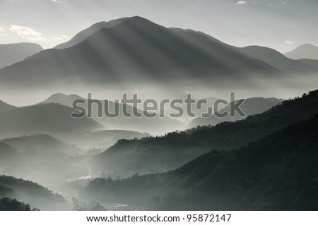 Mountains in Taiwan - stock photo