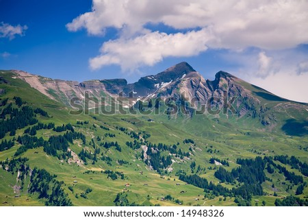 Mountains in the Canton of Bern in Switzerland - stock photo