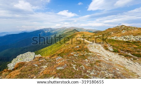 Mountains in the Carpathian mountains, panorama - stock photo