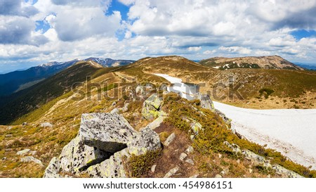Mountains in the Carpathian mountains, panorama