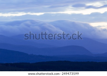 Mountains in the clouds, Highlands, Scotland - stock photo