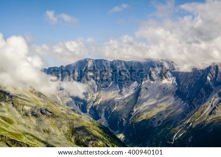 mountains in the national park Hohe Tauern in Alps in Austria. Backgrounds - stock photo