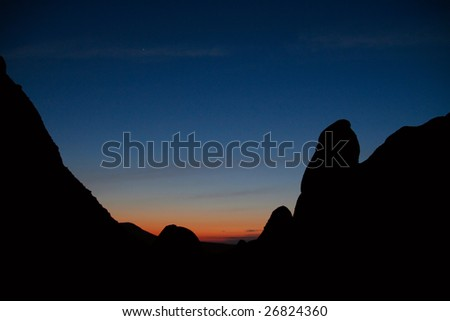 mountains in the night