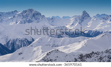 Mountains in the Parsenn area, ski resort Weissfluhgipfel in Davos, Switzerland - stock photo