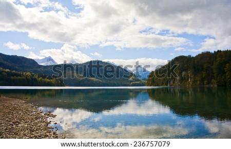 Mountains lake in bavarian alps - stock photo