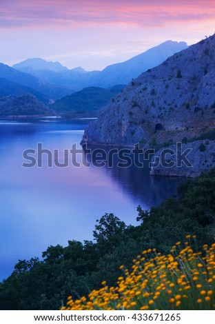 mountains lake in summer morning time. Leon,  Spain