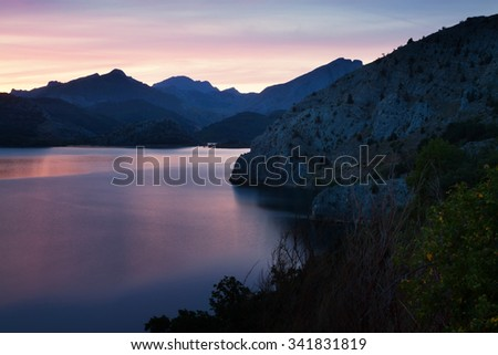 mountains lake in summer sunrise  - stock photo