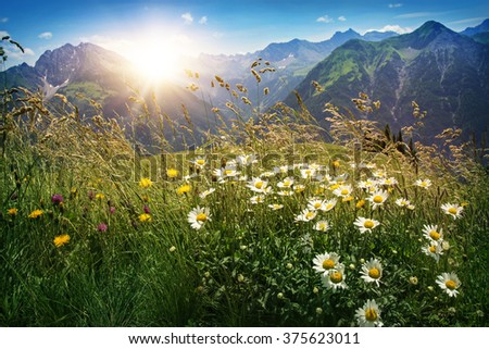 Mountains landscape in Vorarlberg, Austria - stock photo